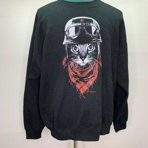 Gildan Sweatshirt XL Motorcycle Kitty Graphic